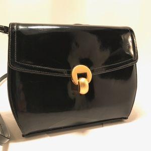 Vintage Clutch Black Patent Leather Cross Body Bag